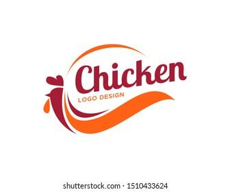 Chicken logo design. Flat style logo vector. Logo for business, food, restaurant.