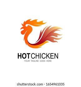 Chicken logo with fire design template, Hot chicken