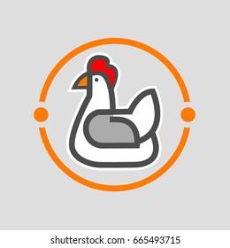 Chicken logo template on white background.