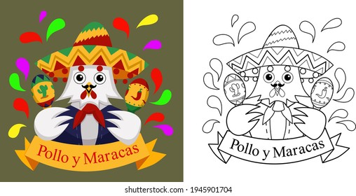 Chicken and Maracas Lineart and Full color vector