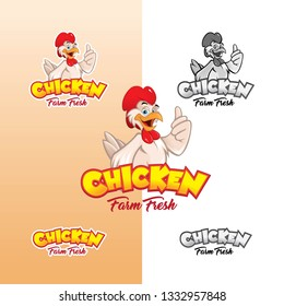 Chicken mascot or chicken character, illustration.
