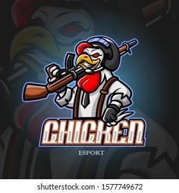 Chicken mascot esport logo design.