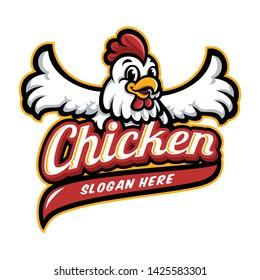 Chicken mascot logo vector in white background