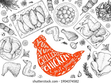 Chicken meat. Grilled and Fried chicken. Hand drawn sketch illustration. Grilled chicken meat top view frame. Vector illustration. Engraved design. Restaurant menu design template.