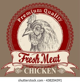 Chicken meat label with sketch vector