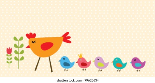 chicken mother with little chicks