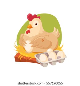 Chicken Nesting Laying Fresh Eggs, Farm And Farming Related Illustration In Bright Cartoon Style