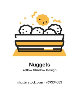 Chicken nuggets in box lineal vector illustration
