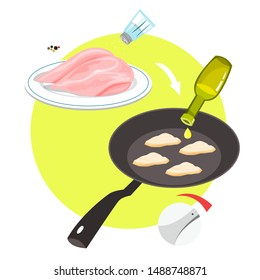 Chicken nuggets cooking in frying pan at home. Homemade nugget with crispy crust. Unhealthy snack of meat. Isolated vector illustration in cartoon style