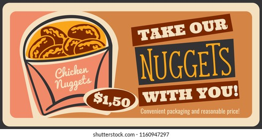 Chicken nuggets fast food retro advertisement poster for restaurant or cinema bistro snacks menu. Vector vintage design of tasty finger food nuggets for fastfood delivery or takeaway cafe