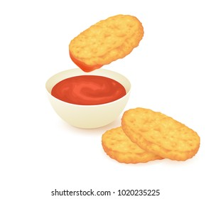 Chicken nuggets with ketchup isolated on white
