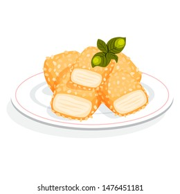 Chicken nuggets meal. Crispy snack with sauce. Fried fast food. Delicious dinner or lunch. Illustration in cartoon style vector