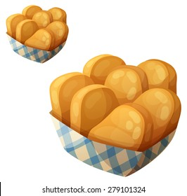 Chicken nuggets in the paper basket. Detailed vector icon isolated on white background. Series of food and drink and ingredients for cooking.