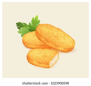 Chicken nuggets with parsley leaves. Vector illustration.