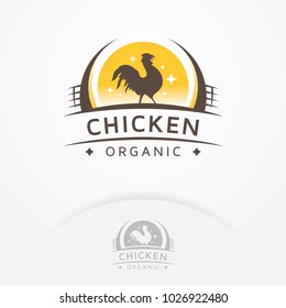 Chicken organic logo. Rooster badge, emblem or logo design. Chicken meat and eggs. Farms logo template