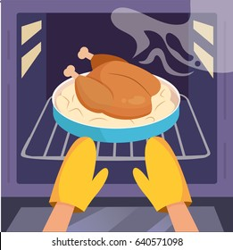 Chicken in the oven. Hands in kitchen gloves. Vector. Cartoon. Flat.
