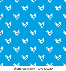 Chicken pattern vector seamless blue repeat for any use