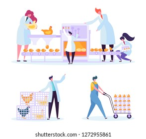 Chicken Poultry Egg Production Farm Line Set. Worker Character Processing Machinery Packing at Manufacture Line. Industry Equipment Collection Flat Cartoon Vector Illustration