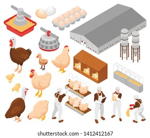 Chicken poultry farm isometric elements set with turkey eggs farm workers feeding birds facilities equipment vector illustration