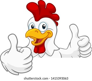 A chicken rooster cockerel bird cartoon character peeking over a sign and giving a thumbs up
