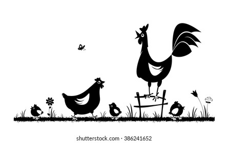Chicken and rooster. Farm animals. Vector silhouettes on the white background.