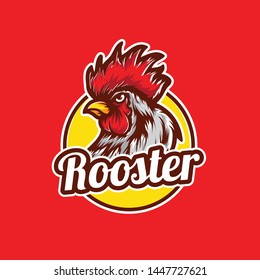 Chicken rooster head mascot. Rooster logo icon
