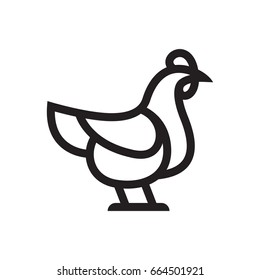 Chicken or Rooster vector icon for web, mobile and infographics icon isolated on white background.