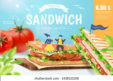 Chicken sandwich ads with lovely couple on chopping board, 3d illustration