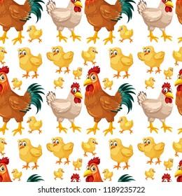 Chicken seamless background pattern illustration