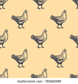Chicken Seamless Pattern Hand Drawn Engave Style Sketch. Vector illustration