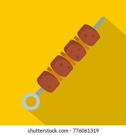 Chicken shish kebab icon. Flat illustration of chicken shish kebab vector icon for web