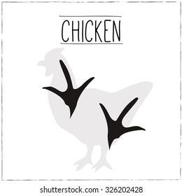 Chicken Silhouette with trails. Vector Illustration.