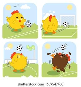 Chicken soccer scenes (set of four kawaii illustrations)
