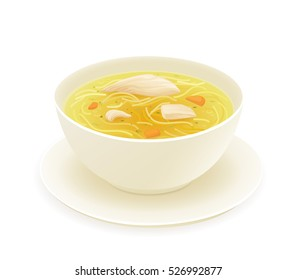 Chicken soup in a bowl isolated on white background. Vector