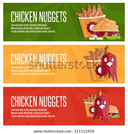 Chicken Time Fast Food Vector Banners Stock Vector Royalty Free