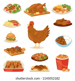 Chicken vector cartoon chick character hen and food chicken-wings with vegetables and barbecue sausage for dinner illustration set of fastfood burger and french fries isolated on white background