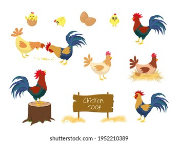Chicken vector cartoon chick character hen and rooster in love with baby chickens or hen sitting on eggs in hen-coop. Chicken farm coop Vector.