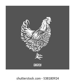 Chicken. Vector illustration. Badges and design elements for the chicken manufacturing.