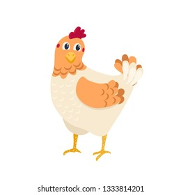 chicken, vector illustration, cartoon style, isolated on white background, cute, baby
