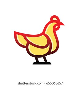 Chicken vector sketch icon linear flat style