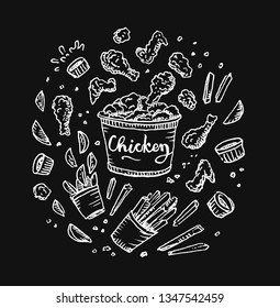 Chicken wings bucket. Chalkboard drawing. Crispy chicken and french potato.