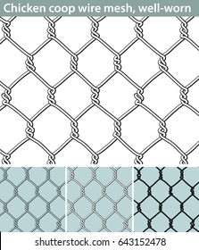 Chicken wire, well-worn. Three different versions of a seamless pattern with a wire mesh for chicken coops: unfilled, with white filling and in silhouette. The wire is deformed by use.