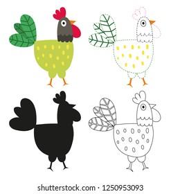 chicken worksheet vector design