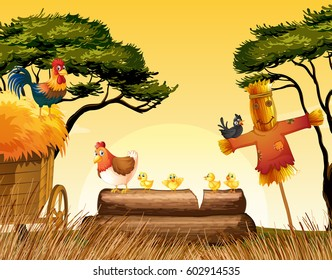 Chickens and scarecrow in the field illustration