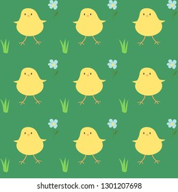 chickens seamless vector pattern in cartoon style
