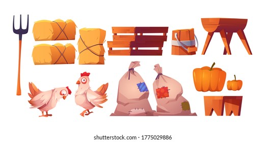 Chickens, straw, bags with harvest and fork isolated on white background. Vector cartoon set of farm icons with hay stacks, wooden boxes, trough and bench, hen and pumpkin