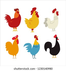 Chickens vector illustration in Color. Brown and white Hen and Rooster. Mascot chicken