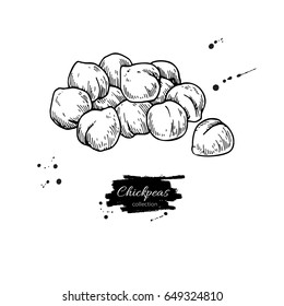Chickpeas hand drawn vector illustration. Isolated Vegetable engraved style object. Detailed vegetarian food drawing. Farm market product. Great for menu, label, icon