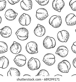 Chickpeas hand drawn vector seamless pattern. Isolated Vegetable engraved style background. Detailed vegetarian food drawing. Farm market product. Great for menu, packaging design, fabric