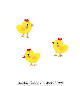 Chicks animal cartoon character isolated on white background.